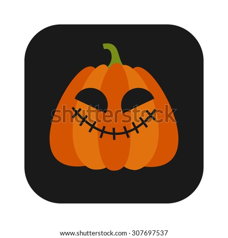 Halloween Pumpkin Jack O' Lantern Vector Illustration, flat