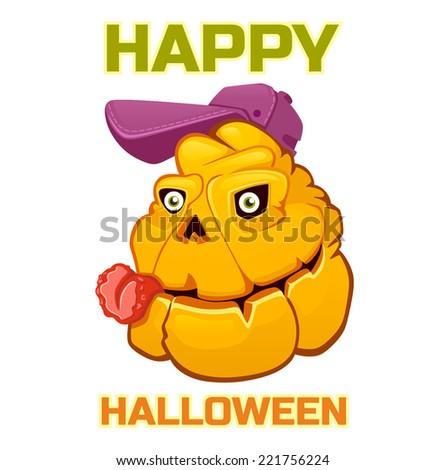 halloween pumpkin monster baseball - stock vector