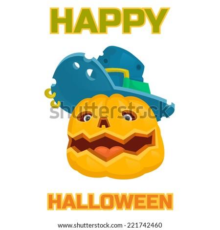 halloween pumpkin monster hat - stock vector
