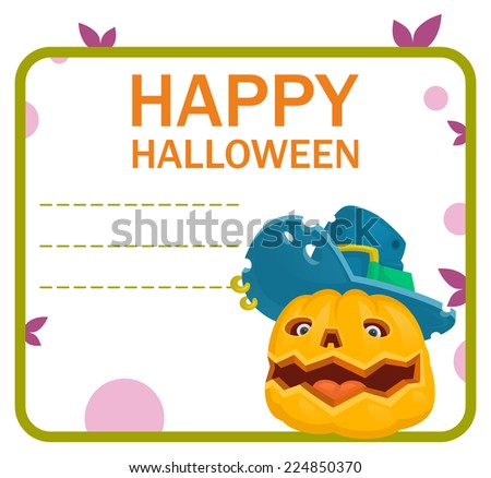 halloween pumpkin monster hat card - stock vector