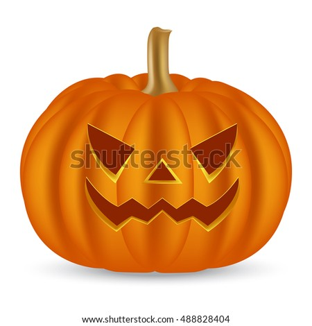 Halloween pumpkin on a white background. Vector illustration