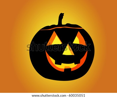 Halloween pumpkin on an orange background