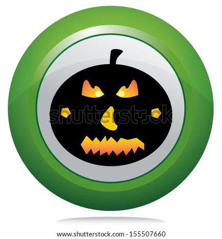 Halloween pumpkin on green round button. Black pumpkin vector on isolated button design.