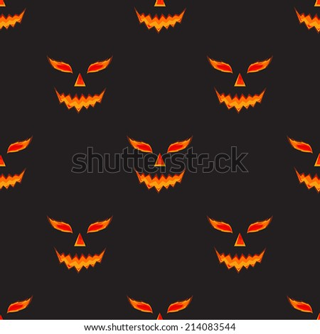 Halloween pumpkin scary face vector pattern on black - stock vector