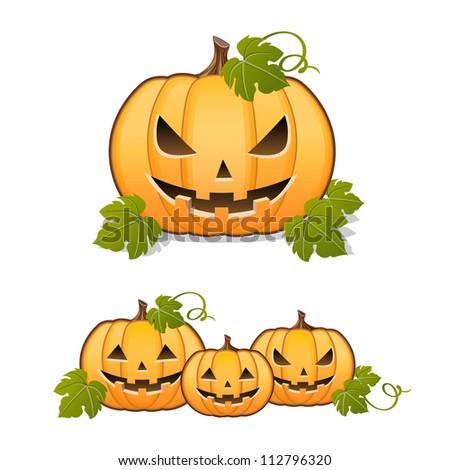 Halloween pumpkin, set of Jack-o-lantern on white background - stock vector