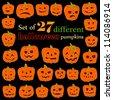 Halloween pumpkin set. Set of Vector Halloween Design Elements. Halloween. Vector illustration. - stock vector
