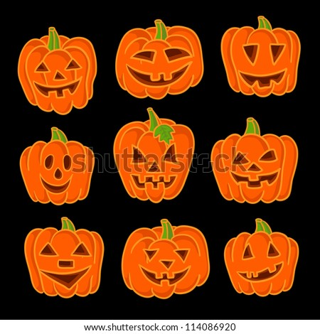 Halloween pumpkin set. Set of Vector Halloween Design Elements. Halloween. Vector illustration.