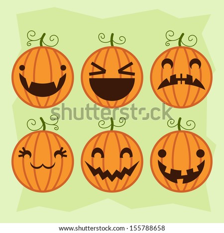 Halloween pumpkin set with different emotions. Vector illustration