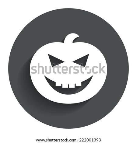 Halloween pumpkin sign icon. Halloween party symbol. Circle flat button with shadow. Modern UI website navigation. Vector