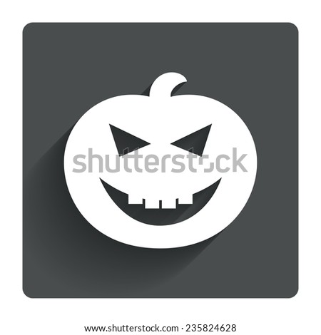 Halloween pumpkin sign icon. Halloween party symbol. Gray flat square button with shadow. Modern UI website navigation. Vector