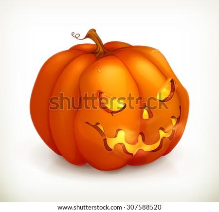 Halloween Pumpkin, vector icon - stock vector