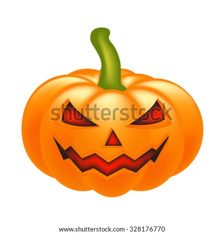 Halloween pumpkin vector illustration, Jack O Lantern isolated on white background. Scary orange picture with eyes and candle light inside.; - stock vector
