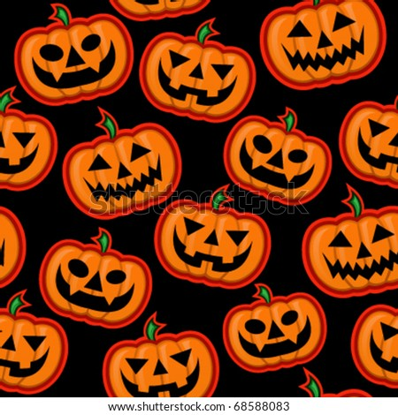 Halloween Pumpkin vector pattern in black background - stock vector