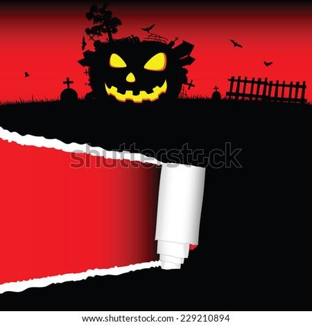 halloween pumpkin vector with tearing paper illustration - stock vector