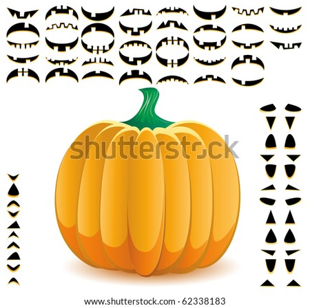 Halloween pumpkin with big set of mouths, eyes and noses for Jack O`Lantern face, part 9, vector illustration - stock vector