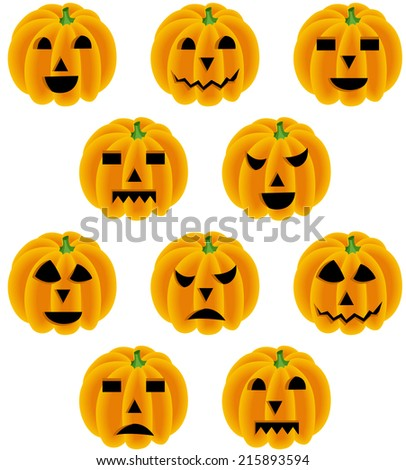 Halloween pumpkin with different expressions - stock vector
