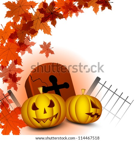Halloween pumpkin with gravestone on autumn leaves background. EPS 10.