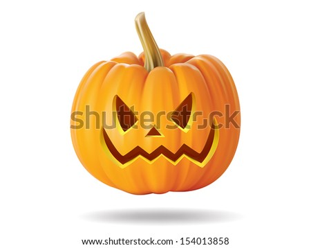 Halloween pumpkin with scary face on  white
