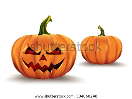 Halloween pumpkin with scary face on white - stock vector