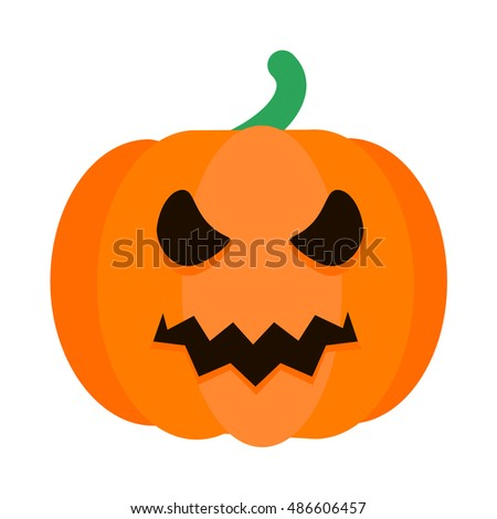 Halloween Pumpkin with Scary face on White  Background. Vector Illustration.