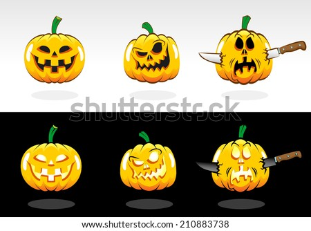 Halloween pumpkin with various emotions. Painted pumpkins in cartoon style for design style Halloween. - stock vector