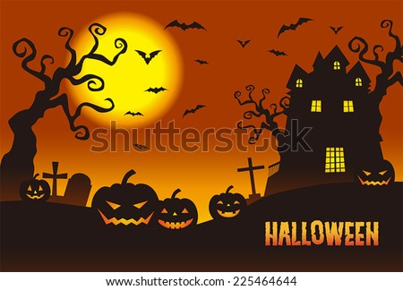 Halloween pumpkins & a haunted mansion in the twilight - stock vector