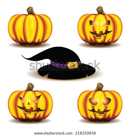 Halloween pumpkins and hat isolated on white background.