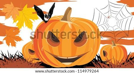 Halloween pumpkins, bat and spiders. Vector - stock vector