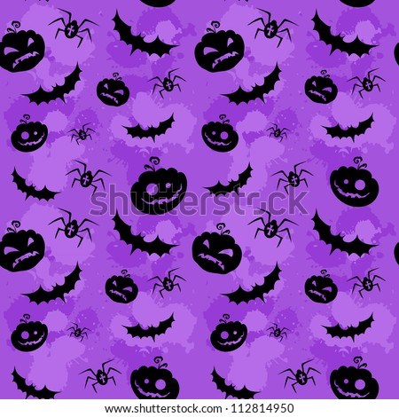 Halloween pumpkins, bats and spiders grungy seamless background - stock vector