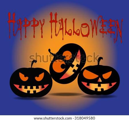 Halloween Pumpkins card vector illustration - stock vector