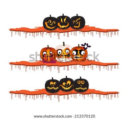 Halloween pumpkins design elements - stock vector