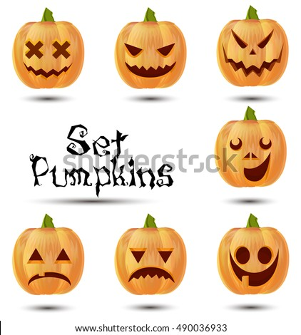 Halloween pumpkins flat isolated set different emotion variation vector illustration