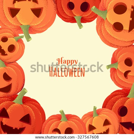 Halloween pumpkins frame. Retro vector illustration - stock vector