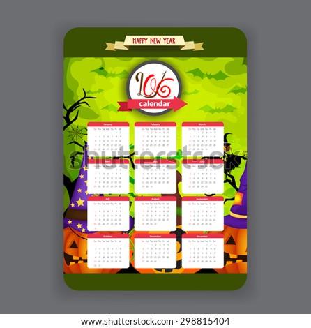 halloween pumpkins green background Calendar 2016 year design - stock vector