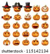 Halloween Pumpkins; Horror Persons; Emotion Variation; Vector Icon Set - stock vector