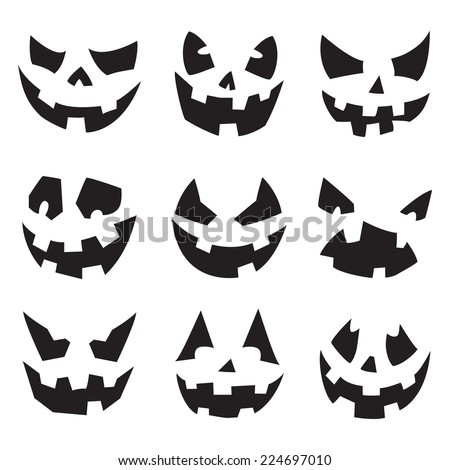 Halloween Pumpkins. Horror Persons. Emotion Variation. Vector Icon Set. - stock vector