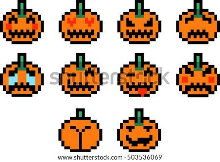 Halloween Pumpkins Pixel Art Emoticons Emoji Stock Vector ...