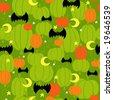Halloween Pumpkins Seamless Repeat Pattern Vector Illustration - stock vector