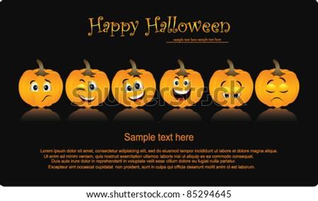 Halloween Pumpkins set - stock vector