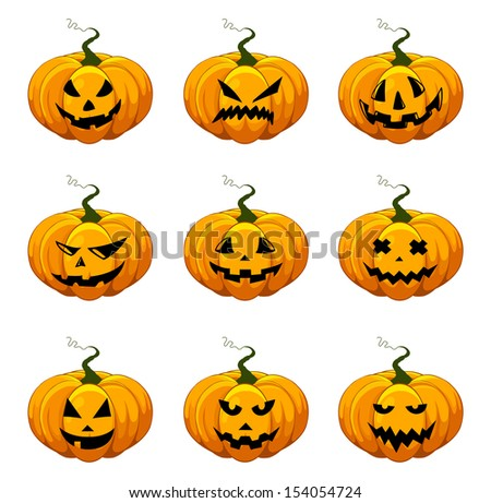 Halloween pumpkins. Set of a scary pumpkins jack-o-lantern for Halloween.