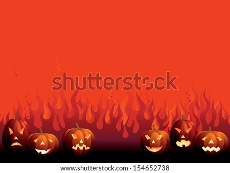 Halloween pumpkins. Vector background of many glowing halloween pumpkins on  abstract fire - stock vector