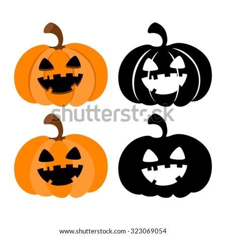 Halloween pumpkins with Jack O`Lantern face isolated on white background. Vector illustration. - stock vector