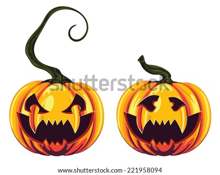 Halloween pumpkins with scary faces on white background. - stock vector