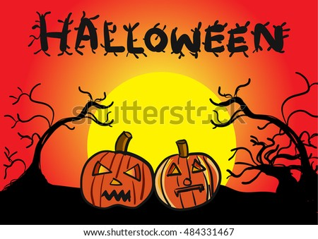 Halloween pumpkins yellow Moon and Silhouette tree background, vector illustration