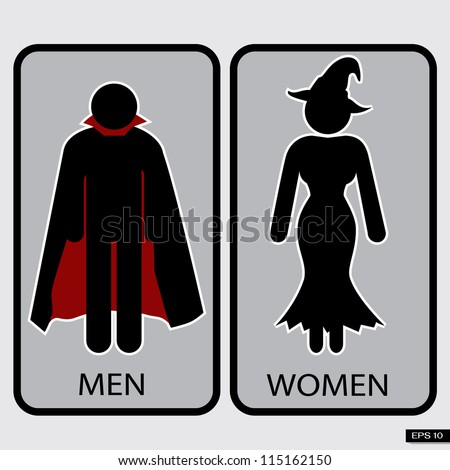 Halloween Restroom Signs Illustration, Vector - stock vector