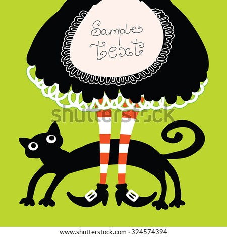 Halloween retro cartoon witch legs in boots and cat - funny Halloween frame. Witch striped legs and retro maid costume black skirt. On green background. Vector illustration, Eps 10. - stock vector