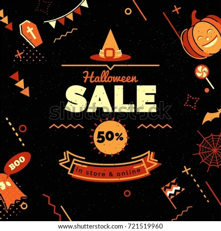 halloween sale banner sale background in 80s memphis style with holiday symbols sale vector illustration