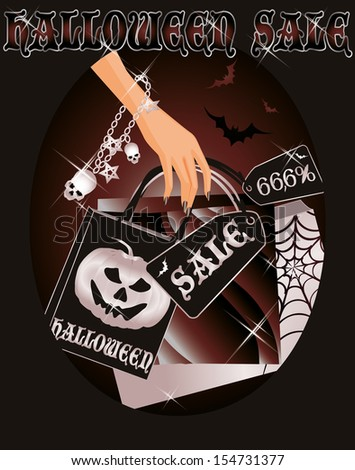 Halloween sale card with shopping witch bags, vector illustration