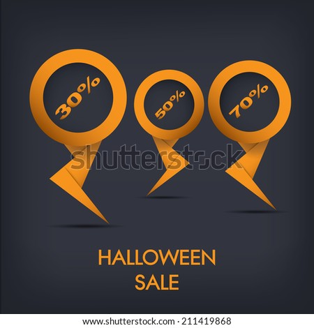 Halloween sale discount tags eps10 vector illustration with different values - stock vector