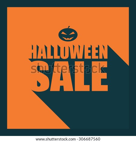 Halloween sale long shadow typography poster. Creative font design. Pumpkin with evil grin. Eps10 vector illustration. - stock vector